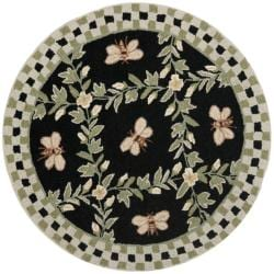 Safavieh Hand-hooked Bumblebee Black Wool Rug (3' Round)