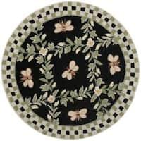 Safavieh Hand-hooked Bumblebee Black Wool Rug (3' Round) - 3' x 3'