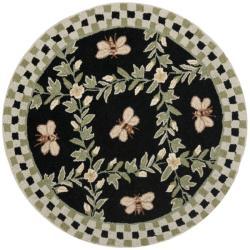 Safavieh Hand-hooked Bumblebee Black Wool Rug - 3' x 3'