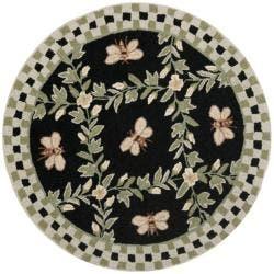 Safavieh Hand Hooked Blebee Black Wool Rug 3 Round