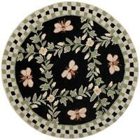 Safavieh Hand-hooked Bumblebee Black Wool Rug - 3' x 3' Round
