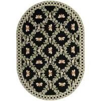 "Safavieh Hand-hooked Bumblebee Black Wool Rug - 4'6"" x 6'6"" oval"