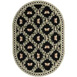 Safavieh Hand-hooked Bumblebee Black Wool Rug (7'6 x 9'6 Oval)