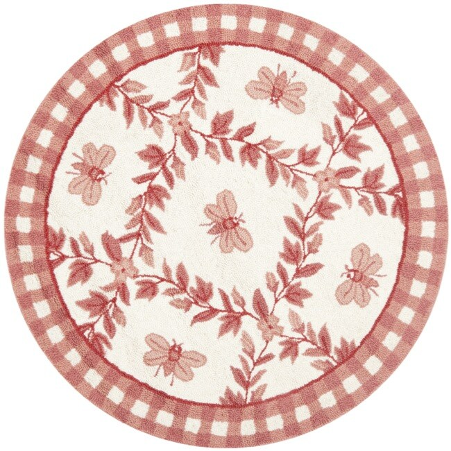 Safavieh Hand-hooked Bumblebee Ivory/ Rose Wool Rug (3' Round) - Thumbnail 0