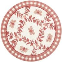 Safavieh Hand-hooked Bumblebee Ivory/ Rose Wool Rug - 4' x 4' Round