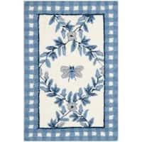 Safavieh Hand-hooked Bumblebee Ivory/ Blue Wool Rug - 1'8 x 2'6