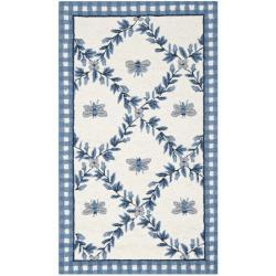 Safavieh Hand-hooked Bumblebee Ivory/ Blue Wool Rug (2'6 x 4')
