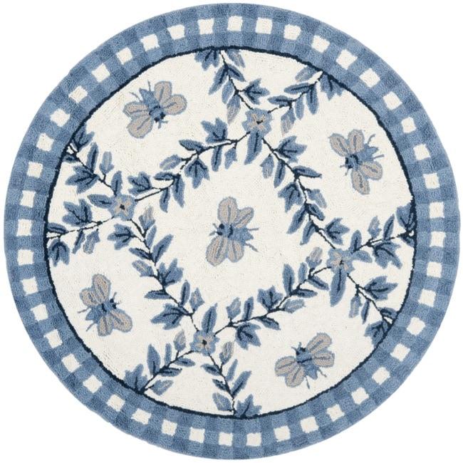Safavieh Hand-hooked Bumblebee Ivory/ Blue Wool Rug (3' Round)