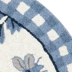 Safavieh Hand-hooked Bumblebee Ivory/ Blue Wool Rug (3' Round) - Thumbnail 1
