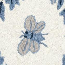 Safavieh Hand-hooked Bumblebee Ivory/ Blue Wool Rug (3' Round) - Thumbnail 2