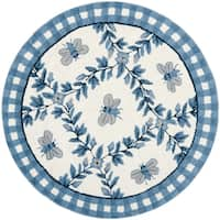 Safavieh Hand-hooked Bumblebee Ivory/ Blue Wool Rug - 3' x 3' round