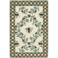"Safavieh Hand-hooked Bumblebee Ivory/ Blue Green Wool Rug - 1'-8"" x 2'-6"""