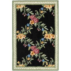 Safavieh Hand-hooked Garden Trellis Black Wool Rug (1'8 x 2'6)