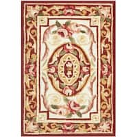 "Safavieh Hand-hooked Aubusson Ivory/ Burgundy Wool Rug - 1'8"" x 2'6"""