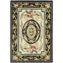 Safavieh Hand-hooked Aubusson Ivory/ Black Wool Rug (1'8 x 2'6)
