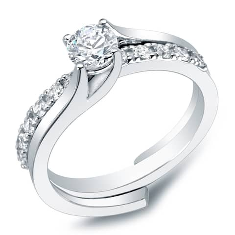 Auriya 14k Gold 1ctw Round Solitaire Diamond Engagement Ring Set