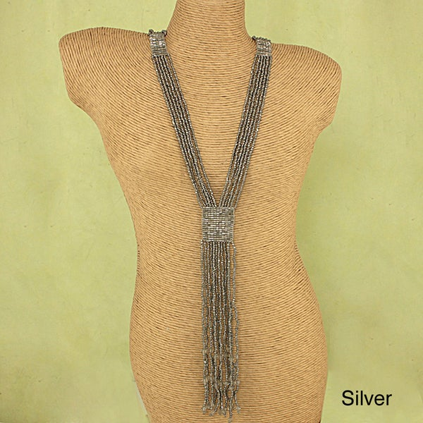 Handcrafted Long Majestic Metallic Glass Beads Necklace (India)