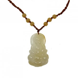 Handmade Yellow Jade Buddha Necklace (China)