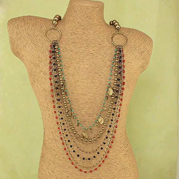 Handcrafted Long Glass Beads,Brushed Metal and Coins Necklace (India)