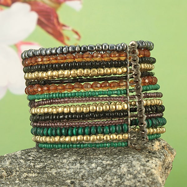 Handcrafted Wide Flexible Metal and Glass Beaded Cuff Bracelet (India)