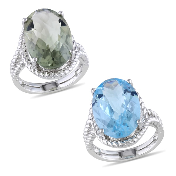 Catherine Catherine Malandrino Sterling Silver Blue Topaz or Green Amethyst Fashion Ring