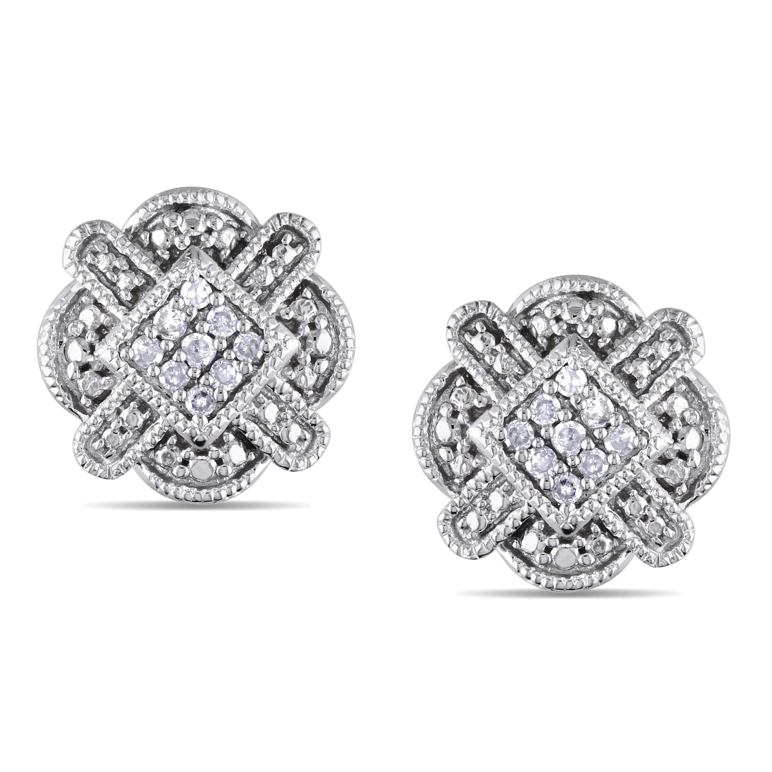 Miadora 10k White Gold 1/10ct TDW Diamond Stud Earrings (G-H, I1-I2)