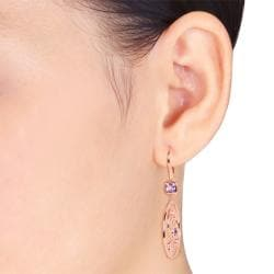 Miadora Pink Rhodiumplated Silver Amethyst and Rose de France Earrings - Thumbnail 2