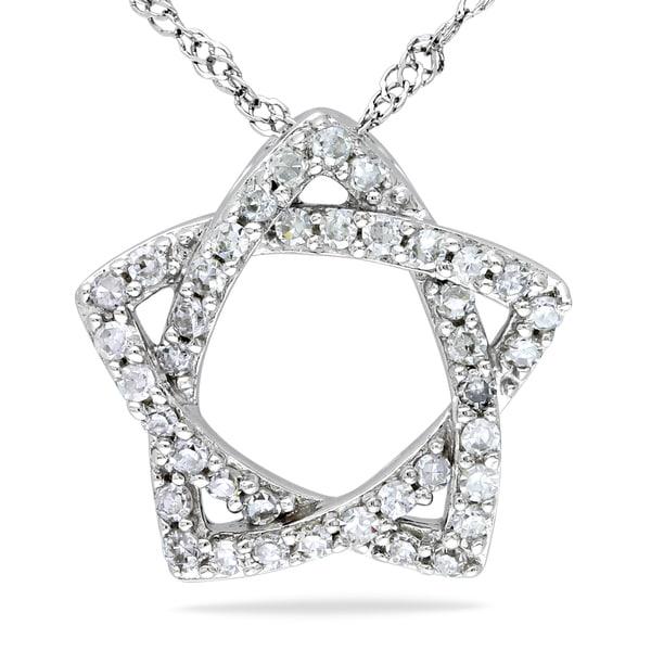 Miadora 14k White Gold 1/5ct TDW Diamond Star Necklace