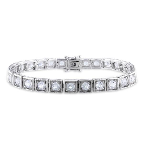 Miadora Sterling Silver White Sapphire Tennis Bracelet