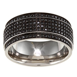 Stainless Steel Men's 1/2ct TDW Black Diamond Wedding Band