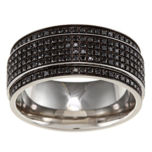 Shop Stainless Steel Men S 1 2ct Tdw Black Diamond Wedding Band