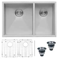 Ruvati 29-inch Undermount 60/40 Double Bowl Zero Radius 16 Gauge Stainless Steel Kitchen Sink - RVH7200