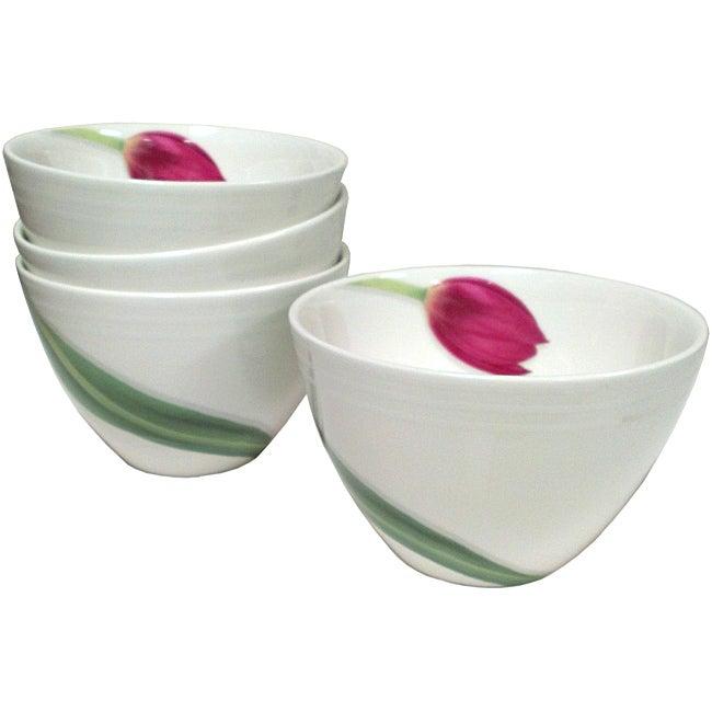 Red Vanilla Dutch Garden Coupe Bowls (Set of 4)