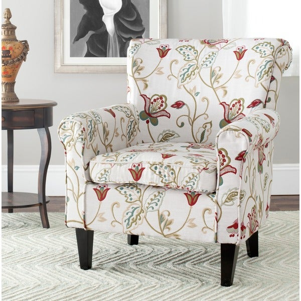 Safavieh gramercy red flowers ivory club chair free Floral living room furniture sets
