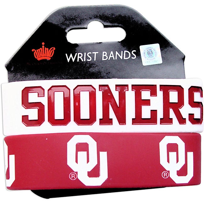 Oklahama Sooners Rubber Wrist Band (Set of 2) NCAA - Thumbnail 0