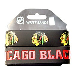 Chicago Blackhawks Rubber Wrist Band (Set of 2) NHL