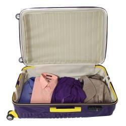 American Vertigo Purple 3-piece Lightweight Expandable Hardside Spinner Luggage Set With TSA Lock - Thumbnail 2