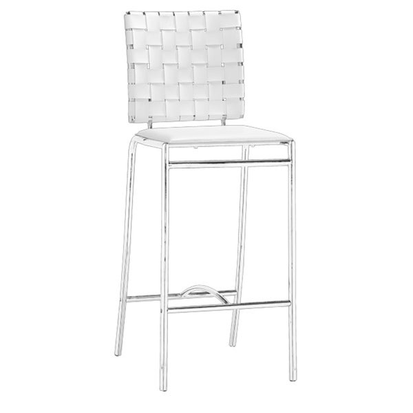 Modern Crisscross Woven White Faux Leather and Chrome Counter Chairs (Set of 2)