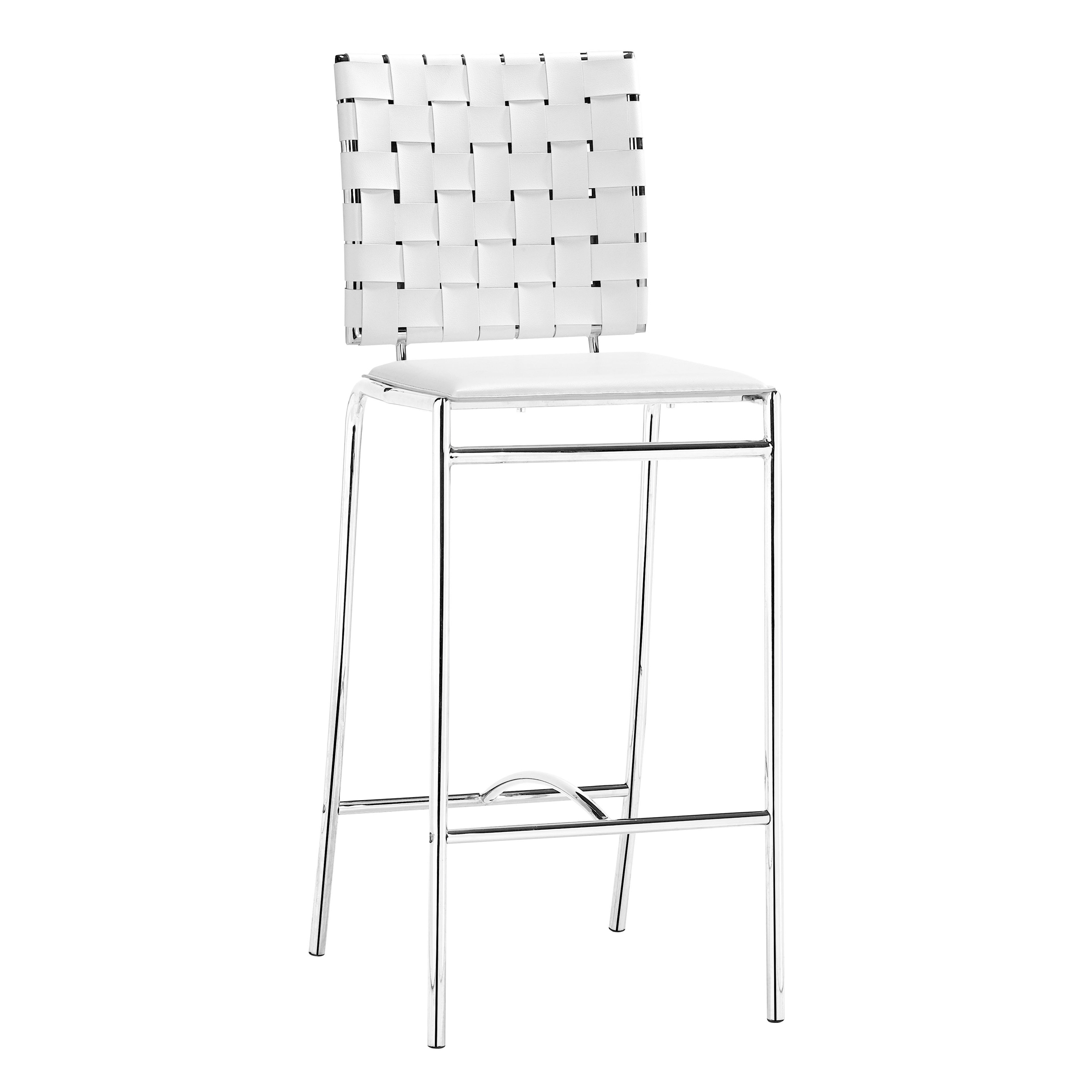 Awesome Modern Crisscross Woven White Faux Leather And Chrome Counter Chairs Set Of 2 Theyellowbook Wood Chair Design Ideas Theyellowbookinfo