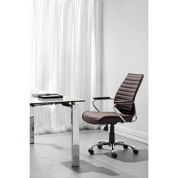 Enterprise Espresso Low Back Leatherette Office Chair - 23.5L x 25W x 37.5-40