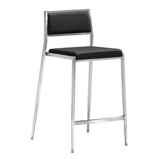 Zuo Leather and Stainless Steel Black Dolemite Counter Chair (Set of 2)