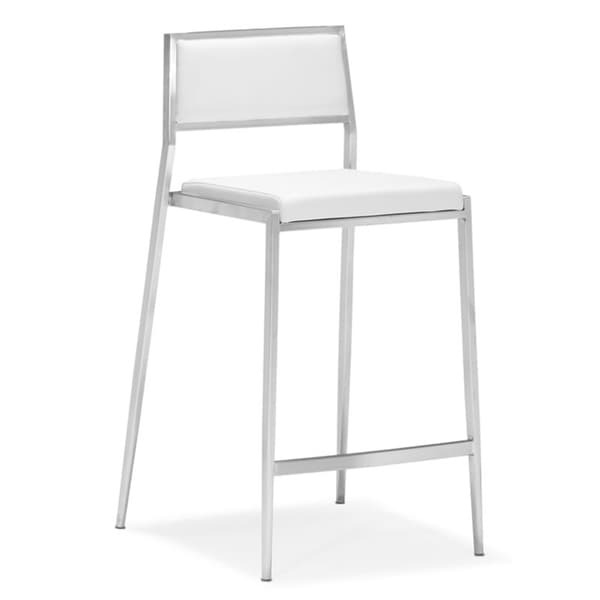 Zuo Leather and Stainless Steel White Dolemite Counter Chair (Set of 2)
