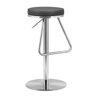 Soda Leather and Chrome Black Barstool