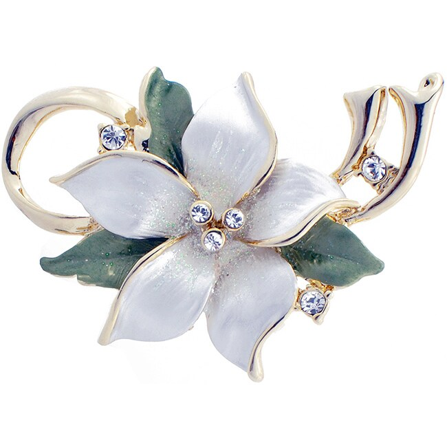 Goldtone Austrian Crystal White Poinsettia Flower Pin