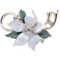 Goldtone Austrian Crystal White Poinsettia Flower Pin