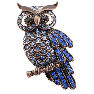Bronzetone Blue Austrian Crystal Vintage-style Owl Pin