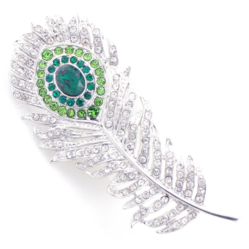 Silvertone Austrian Crystal Peacock Feather Pin