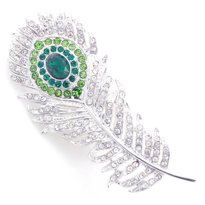 Silvertone Austrian Crystal Peacock Feather Pin - Thumbnail 0