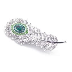 Silvertone Austrian Crystal Peacock Feather Pin - Thumbnail 1