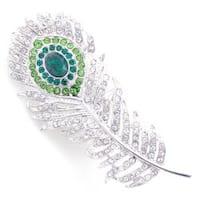 Silvertone Austrian Crystal Peacock Feather Pin